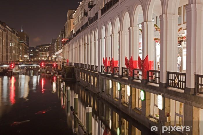 Naklejka Pixerstick Hamburg Arkady Alster, światła Bożego Narodzenia - Święta międzynarodowe