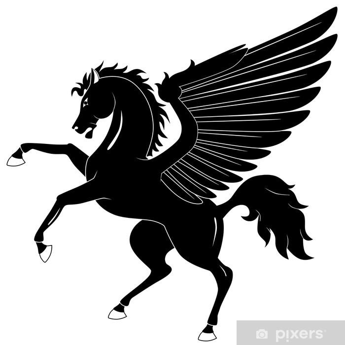 Fototapeta winylowa Black Pegasus na białym tle - Fikcyjne zwierzęta