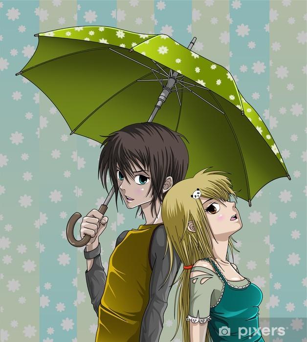 Vinyl Fotobehang Leuke jongen en meisje met paraplu en mooie achtergrond - Thema's