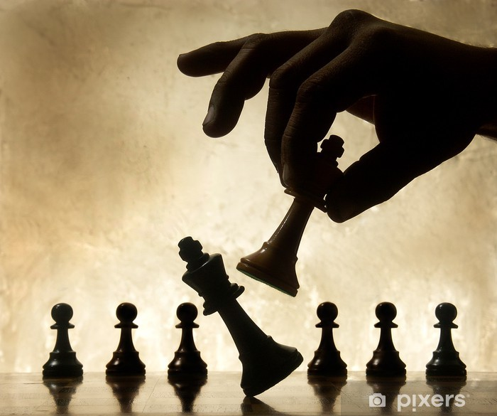 Playing chess game. defeating the Queen. Poster - Success and Achievement