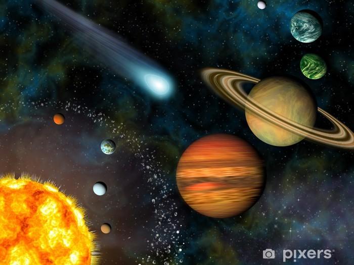 Vinyl Fotobehang 3D Solar System Wallpaper bevat de zon en negen planeten. - Planeten