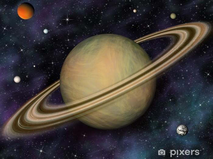 Papier peint vinyle Système solaire. Saturne et ses lunes. - Espace