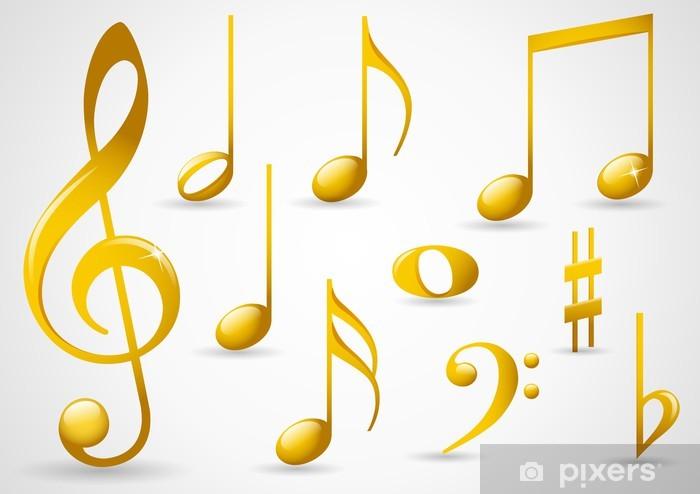 Gold music symbols Wall Mural - Vinyl