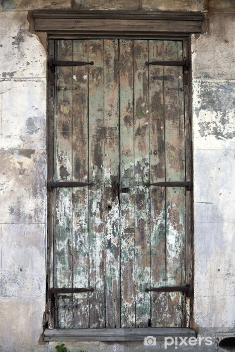 Old Door In French Quarter Pixerstick Sticker Heavy Industry