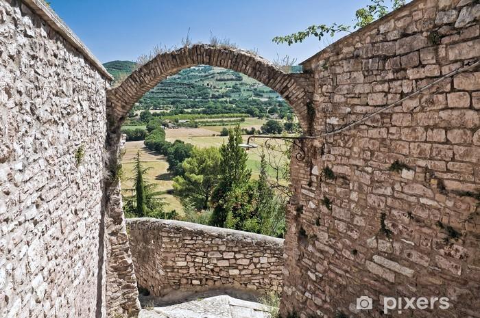 Nálepka Pixerstick Panoramatický výhled na Spello. Umbria. - Prázdniny
