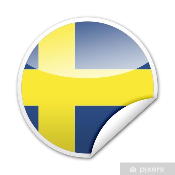 Papier peint vinyle Suède drapeau autocollant avec jante - Réussite