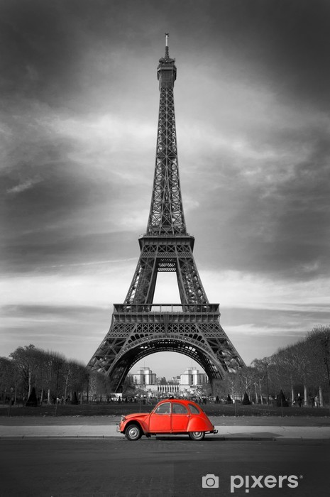 Tour Eiffel et voiture rouge- Paris Pixerstick Sticker - Styles