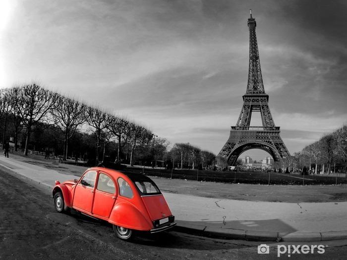 Vinil Duvar Resmi Tour Eiffel et voiture rouge- Paris -