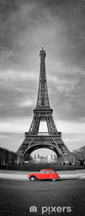 Fototapeta winylowa Wieża Eiffla i czerwony-paris samochód - Tematy