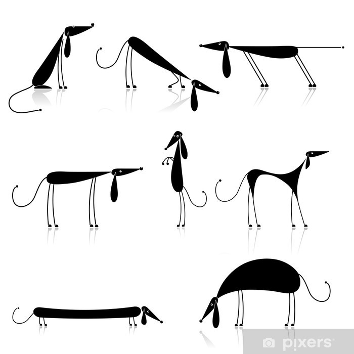 Funny black dogs silhouette, collection for your design Pixerstick Sticker - Mammals