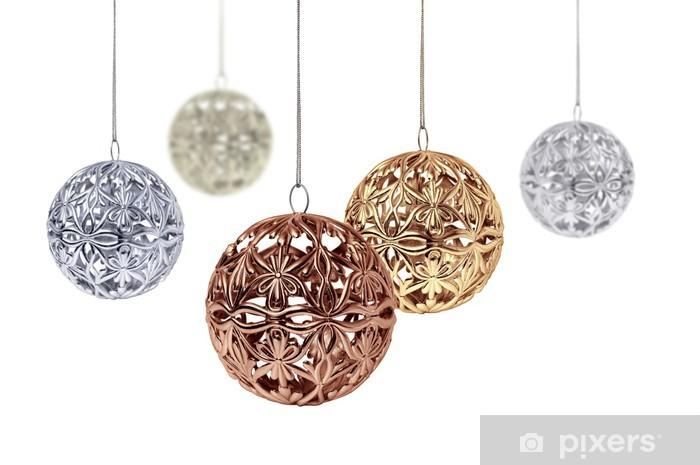 Weihnachtskugeln Kupfer.Fototapete Gold Kupfer Silber Weihnachtskugeln Hängen Auf Weißem