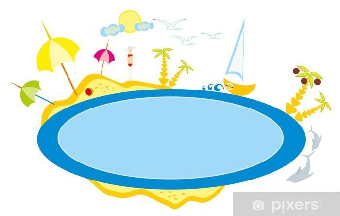 Carta Da Parati Bambino Disegno Una Spiaggia E Di Mare Sole E