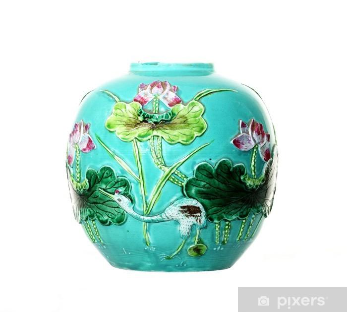 Plakat Antique Tin-szkliwione Majolica Vase Turquoise - Dom i ogród