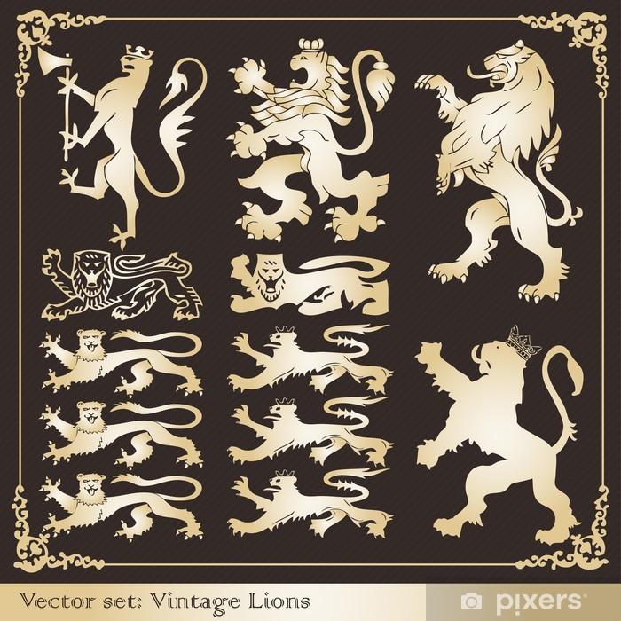 Vinyl-Fototapete Silhouetten von Gold heraldischen Löwen - Geschäftskonzepte
