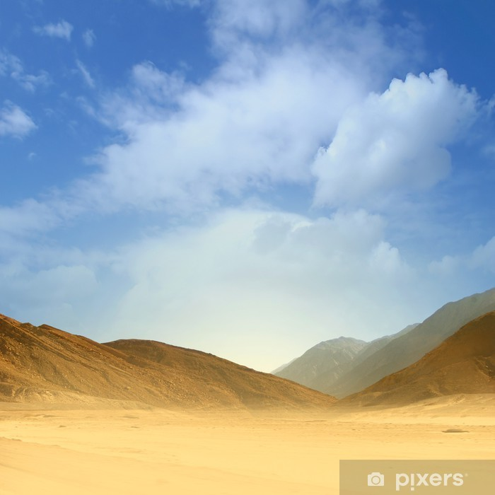 Vinyl Fotobehang Mooi beeld van een zand woestijn op een blauwe hemel achtergrond - Woestijn