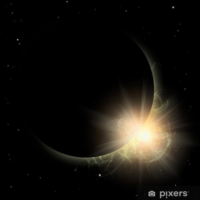 Plakat Niektóre sylwetka Planet w żółtym słońcem. Solar wyeksponowany miejscu. - Przestrzeń kosmiczna