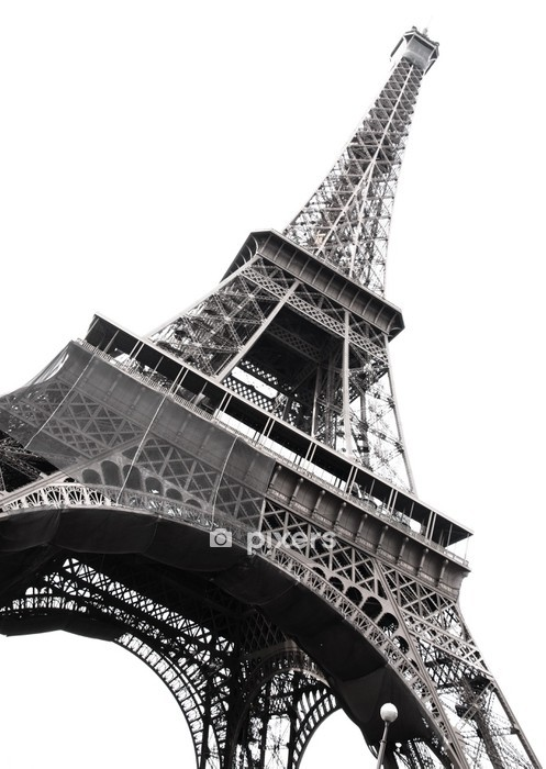 Famous Eiffel Tower of Paris isolated on white Wall Decal - Themes