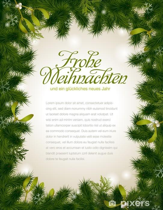 Nálepka Pixerstick Vánoční rám z jedle větvičky a jmelí - Mezinárodní svátky