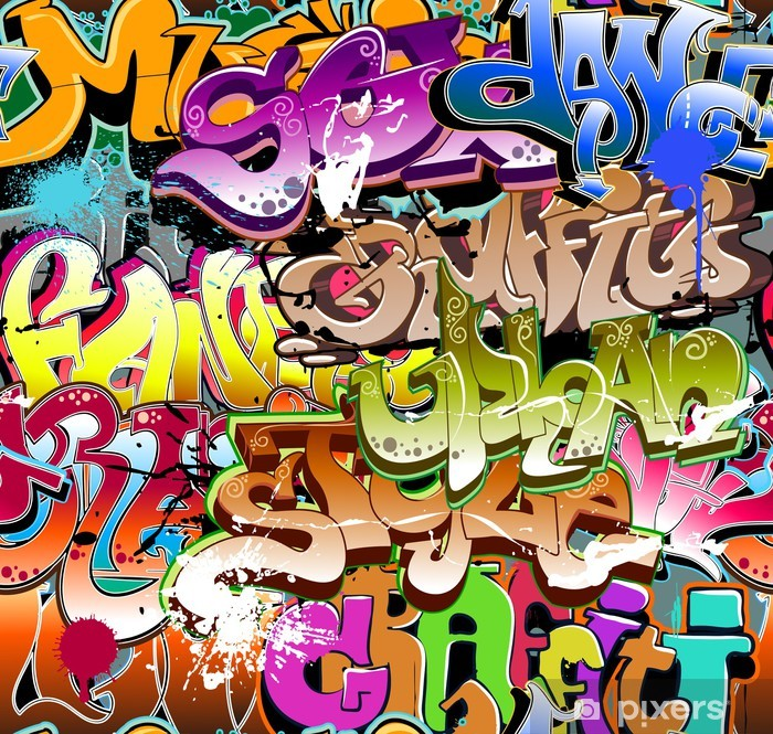 Pixerstick Sticker Graffiti naadloze achtergrond. Stedelijke kunst textuur - Thema's