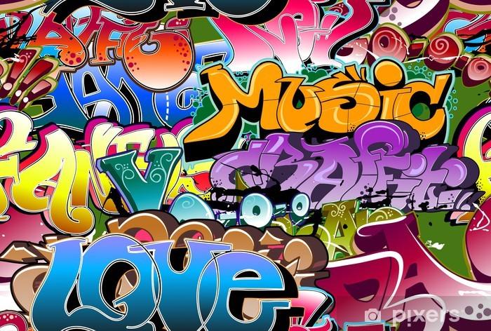 Vinyl Fotobehang Graffiti naadloze achtergrond. Hip-hop kunst -