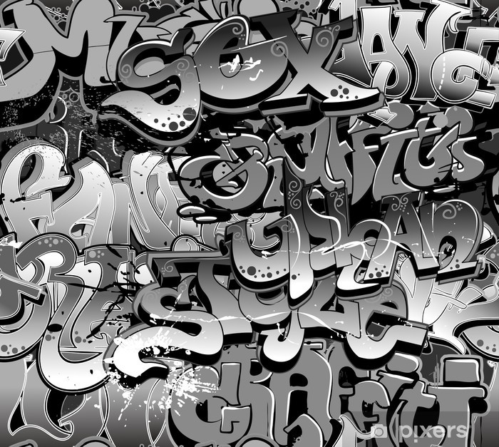 Graffiti seamless background. Urban art texture Vinyl Wall Mural - Themes
