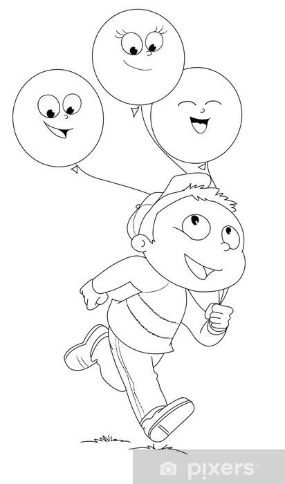 Illustrazione Da Colorare Di Bambino Che Corre Con Palloncini Wall
