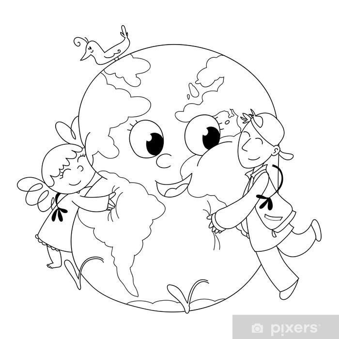 Bambini Felici Che Abbracciano La Terra Da Colorare Wall Mural