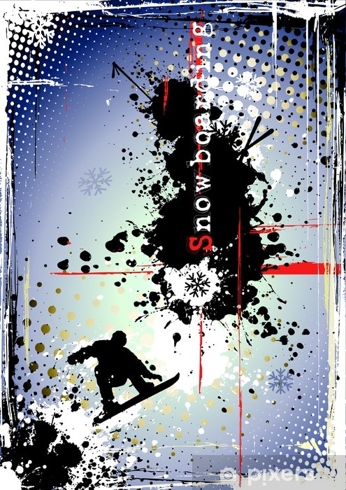 dirty snowboarding poster Pixerstick Sticker - Individual Sports