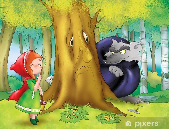 Welp Fotobehang Roodkapje en de grote boze wolf in het bos • Pixers XB-48