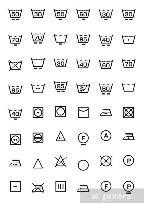 fototapete symbole gesetzt und waschmaschine pixers