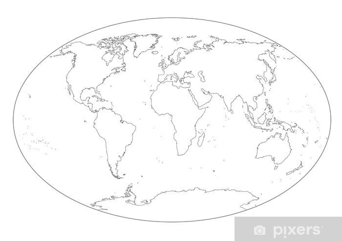 Cartina Del Mondo On Line.Mappa Del Mondo In Bianco E Nero Vuota Sticker Pixers We Live To Change