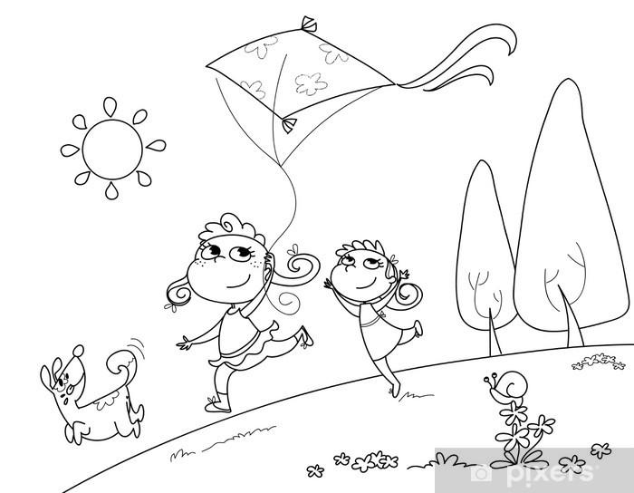 Carta Da Parati Bambine Che Corrono Col Cane E L Aquilone Da