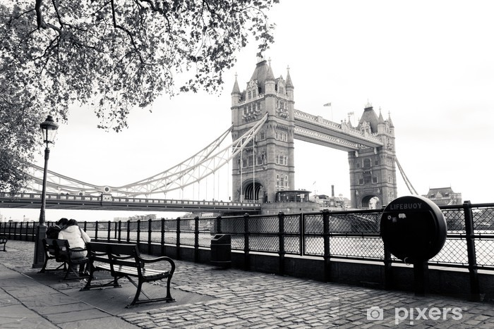 A black and white view of Tower Bridge Pixerstick Sticker - Themes