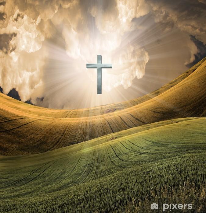Pixerstick Sticker Kruis straalt licht in hemel - Religie