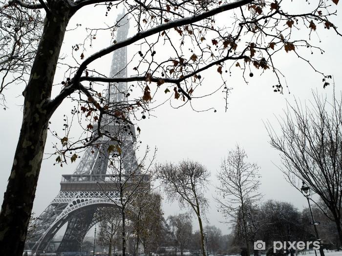 France Paris trocadero under snow Pixerstick Sticker - Themes