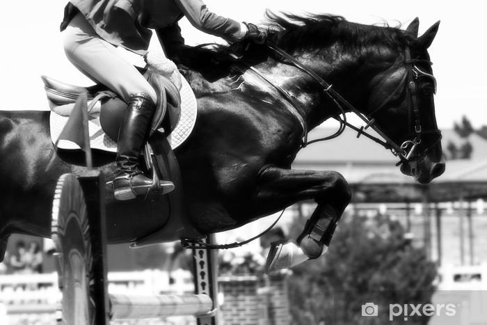 Mural de Parede em Vinil crossing the hurdle - equestrian theme (b&w) - Desportos Individuais