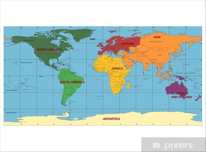 Fototapete Detaillierte Weltkarte Mit Namen Der Lander Und