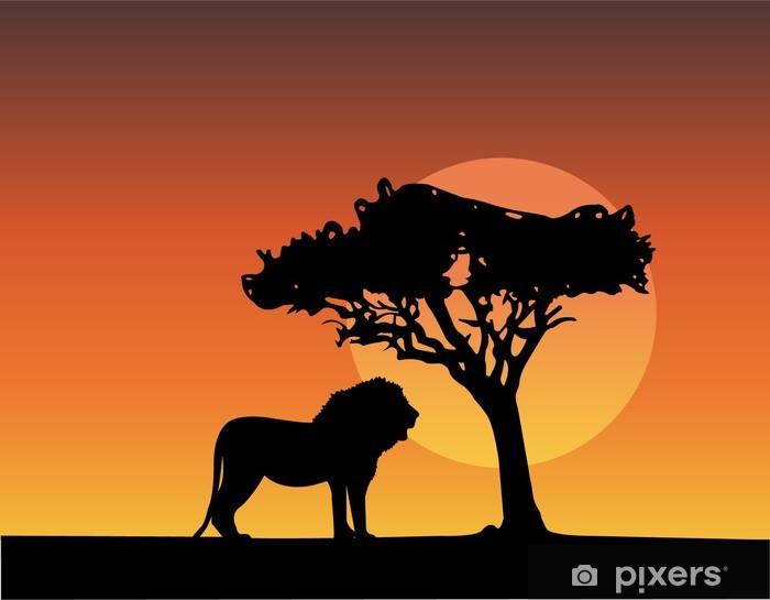 Pixerstick Aufkleber Afrika-Safari Silhouetten der Löwen - Vektor - Afrika