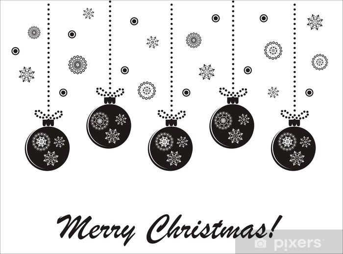 Sticker Vacances De Noël Carte De Vecteur Noir Et Blanc Avec Des Boules Suspendues Pixerstick