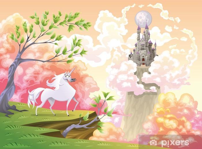 Unicorn og mytologisk landskab. Vektor illustration Pixerstick klistermærke -