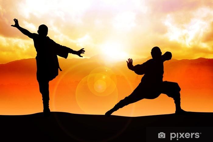 Naklejka Pixerstick Ilustracja sylwetka dwóch postaci robi sztuki walki stanowisko - Sporty indywidualne