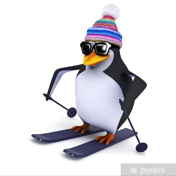 Plakát 3d Penguin lyžování na svazích ve svém vlněný klobouk - Prázdniny
