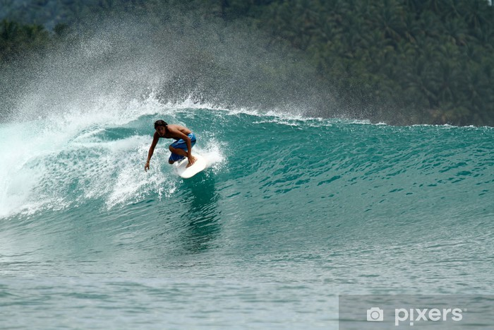 Speed surfer on tropical green wave Pixerstick Sticker - Themes