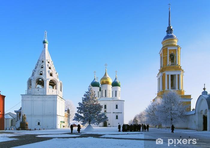 Pixerstick Aufkleber Cathedral Square in Kolomna Kremlin am Winter, Kolomna, Russland - Asien