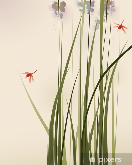 Sticker Pixerstick Orientales de style de peinture, de hautes herbes et de fleurs - Styles