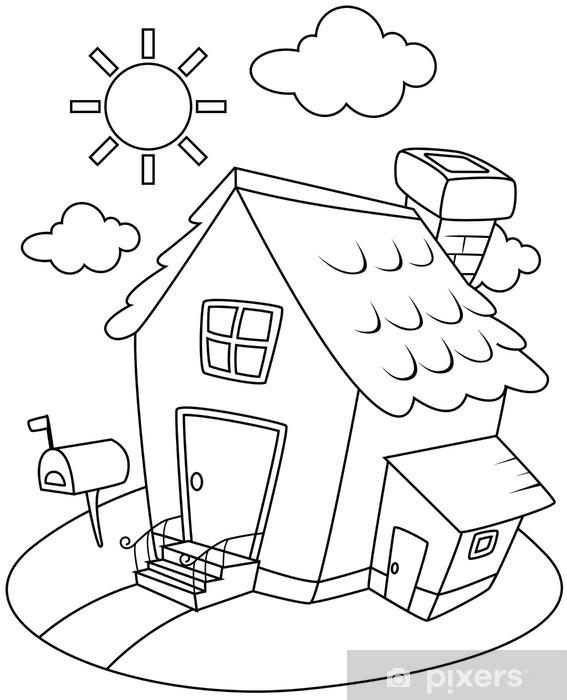 çizgi Sanat Evi çıkartması Pixerstick Pixers Haydi Dünyanızı