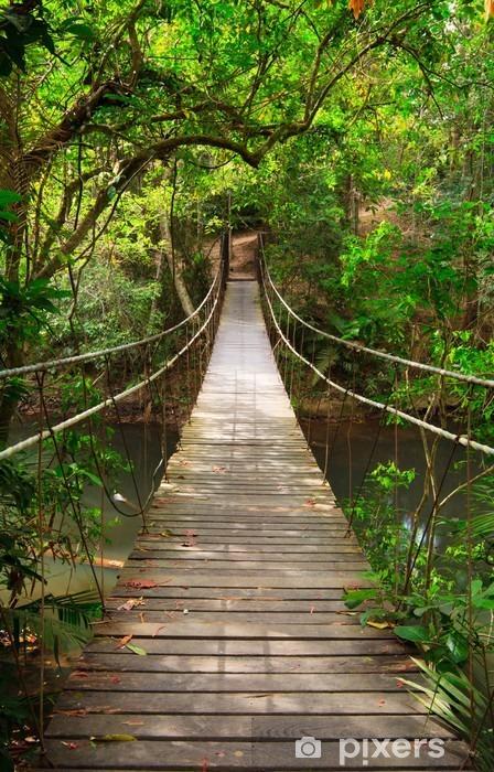 Pixerstick Sticker Brug naar de jungle, Khao Yai National Park, Thailand -