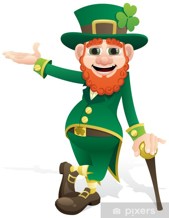 Leprechaun Presenting Vinyl Wall Mural - Happiness