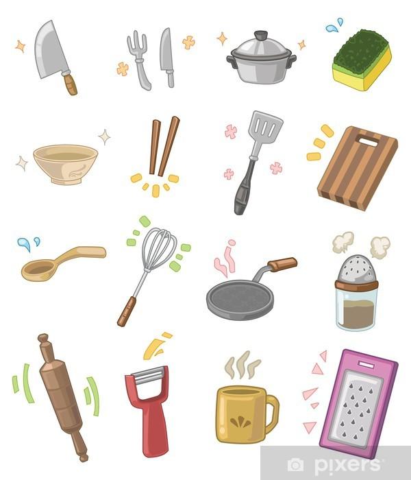 Vinilo Pixerstick Utensilios De Cocina De Dibujos Animados