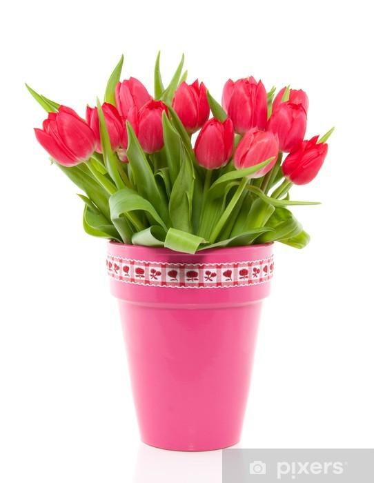 Sticker Pixerstick Un bouquet de tulipes colorées rouges dans un vase rose avec un blanc rouge - Fleurs